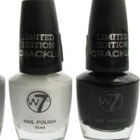 W7 LIMITED EDITION CRACKLE NAIL POLISH - EARTHQUAKE BLACK & WHITE x 2