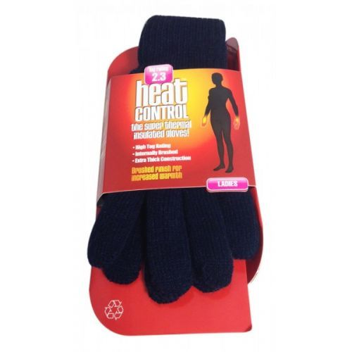 HEAT CONTROL LADIES THERMAL INSULATED GLOVES - NAVY x 1
