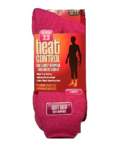 HEAT CONTROL LADIES THERMAL SOCKS PLAIN - PINK x 1