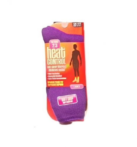 HEAT CONTROL LADIES THERMAL SOCKS PLAIN - PURPLE x 1
