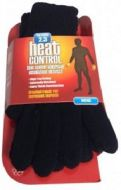 HEAT CONTROL MENS SUPER THERMAL INSULATED GLOVES - BLACK x 1