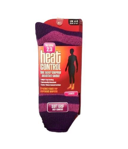 HEAT CONTROL LADIES THERMAL SOCKS STRIPES - PURPLE PINK x 1