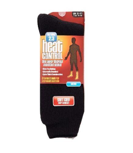 HEAT CONTROL MENS THERMAL SOCKS PLAIN -  BLACK x 1